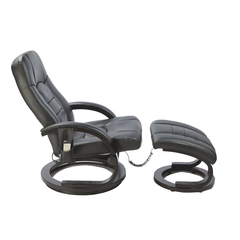 Leather Massage Chair & Ottoman - Black