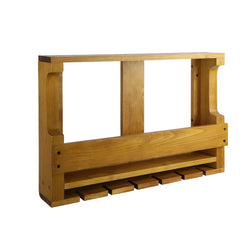Superior Seating Wall Wine Rack Wooden Wine Glass Racks Timber Bottle Holder Mount Hanging