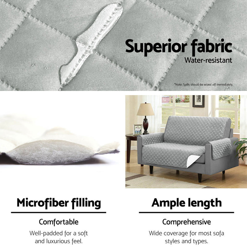 Superior Seating Sofa Cover Quilted Couch Covers Protector Slipcovers 2 Seater Grey