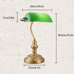 Traditional Bankers Lamp, Brass Base, Green Glass Shade