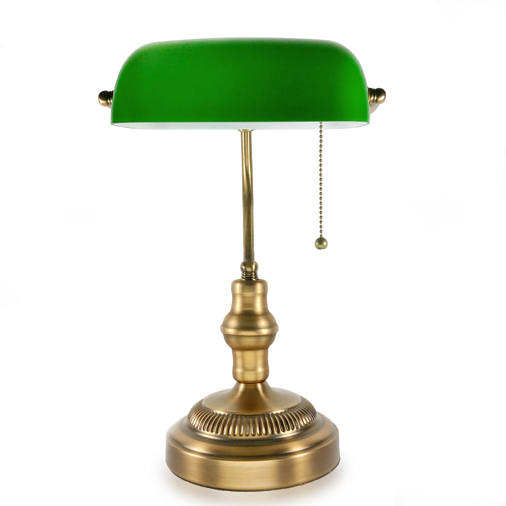 Traditional Bankers Lamp, Brass Base, Handmade Emerald Green Glass Shade,Vintage Office Table Light, Antique Style Desk Lamps for Office, Library, Study Room (Brass)