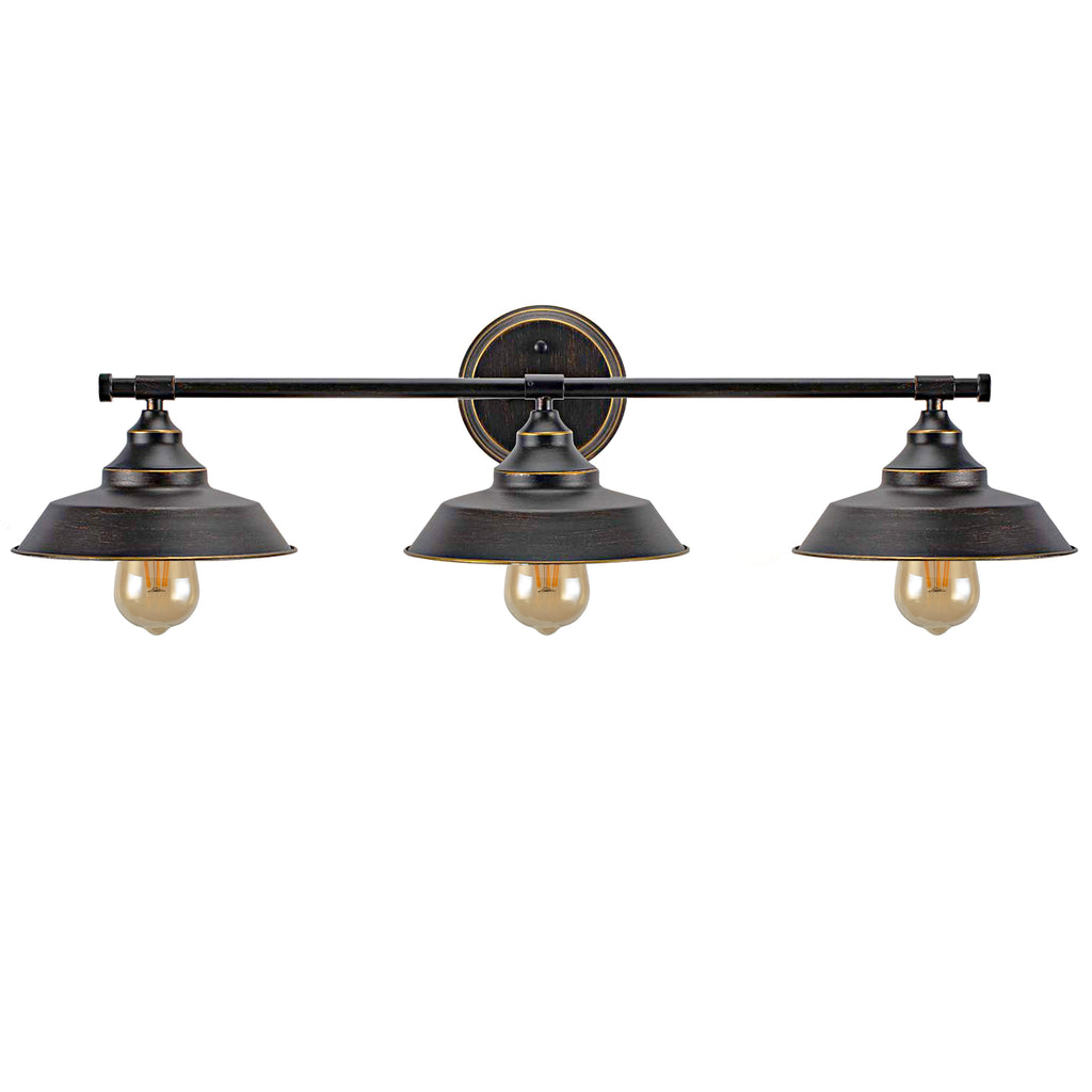 3-Light Wall Sconce Industrial Bathroom Vanity Light Fixture Vintage Indoor Wall Mount Lamp Shade for Bathroom,Bedroom,Vanity Table,Reading Cafe