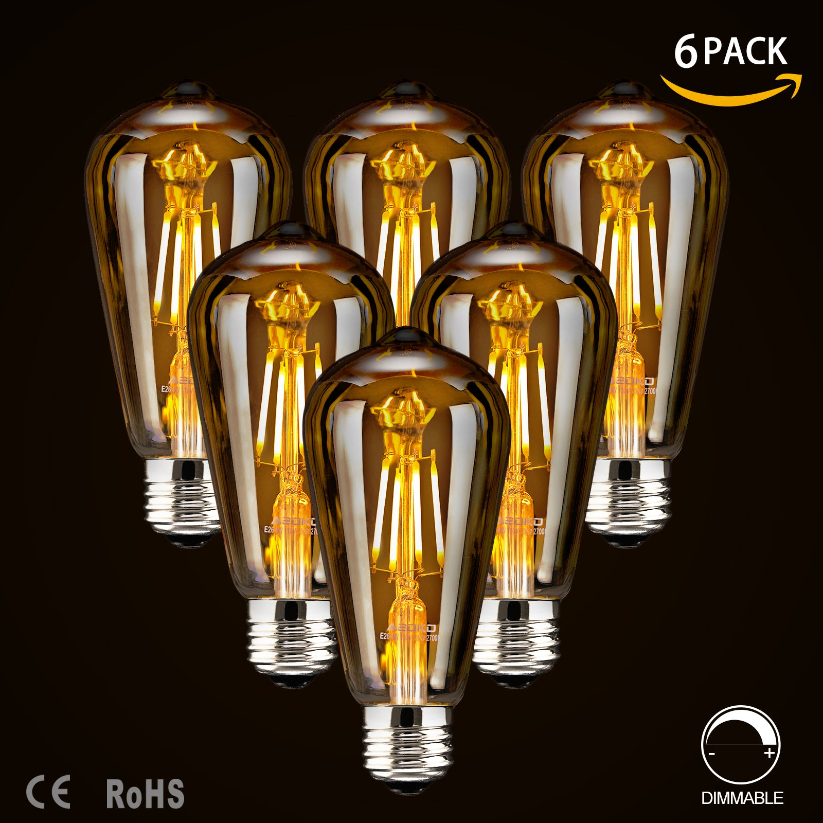 LED Dimmable Edison Light Bulbs 4W Vintage Light Bulb, 2300K Warm White (Amber Glass), Antique Style LED Edison Bulbs, Squarrel Cage Filament,ST64, E26 Base (4W- 6 Pack)