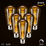 LED Dimmable Vintage Edison Light Bulbs (4W- 6 Pack)
