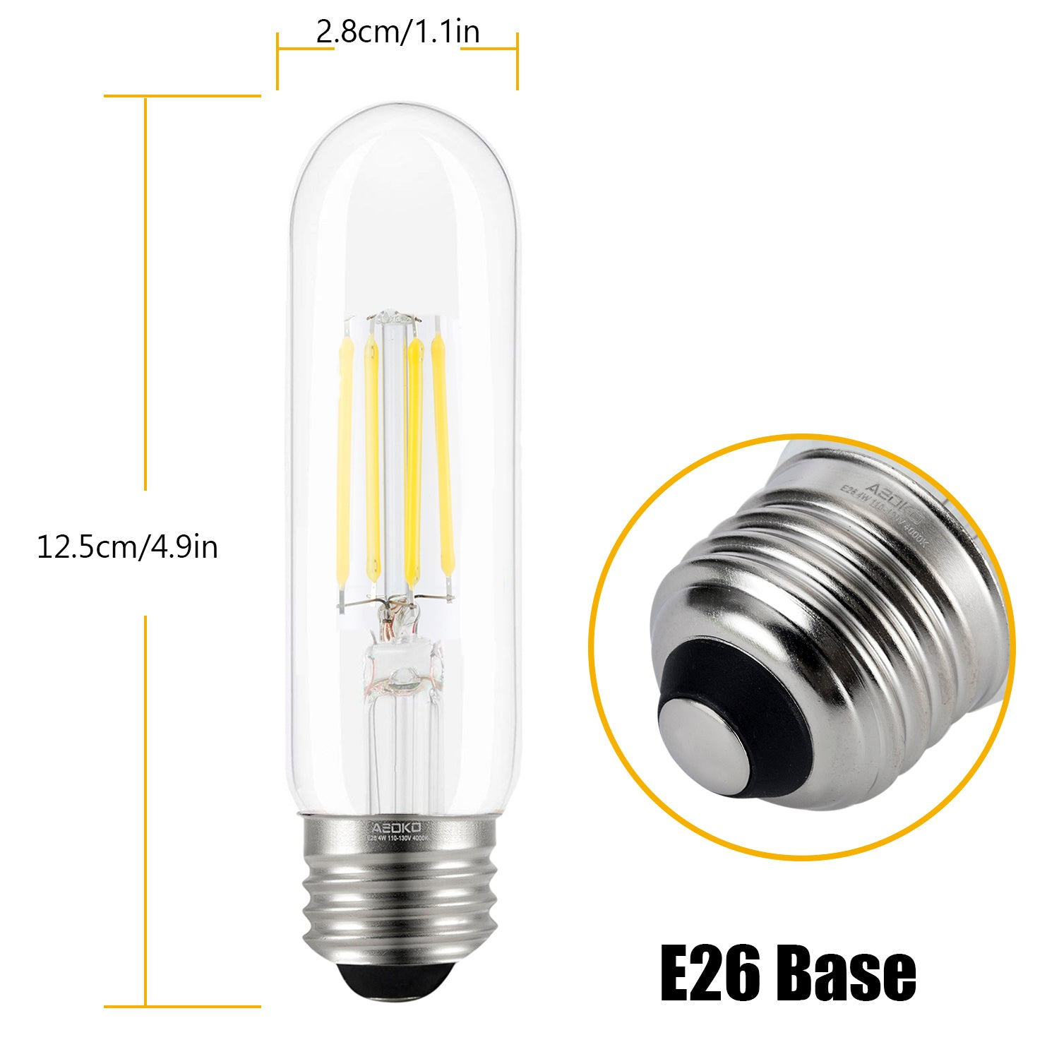 T10 LED Bulbs Daylight LED Tubular Edison Light Bulbs 4W Dimmable Tube Vintage Led Bulbs 40 Watt Equivalent,E26 Medium Base, LED Filament Retro Bulb for Desk Lamp, Pendant Lights(T10-4000K,3-Pack)