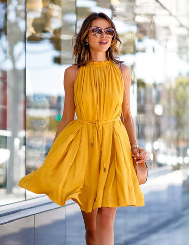 A-Line Sleeveless Pleated Casual Mini Dress With Pockets Belt