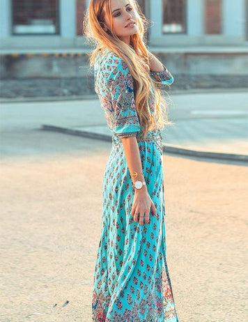 Bohemia Half Sleeveless Print Split Beach Maxi Dress