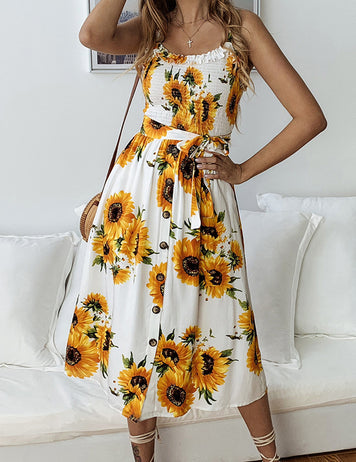 Yellow Sunflower Printed Lace-up Flounced Buttons Camisole Dress