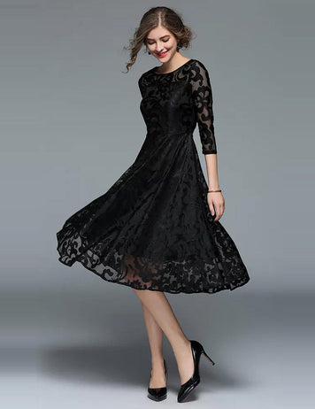 A-Line Round Neck 3/4 Sleeve Lace Midi Dress