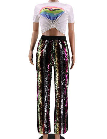 sequins sporty casual pants
