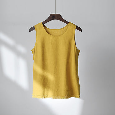 Cotton And Linen Linen Edging Ladies Vest