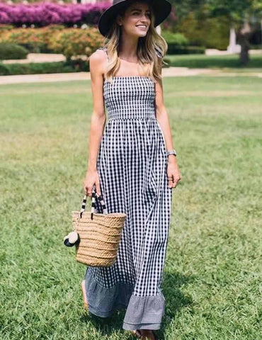 New Hot Sexy Slip Backless Plaid Holiday Maxi Dress