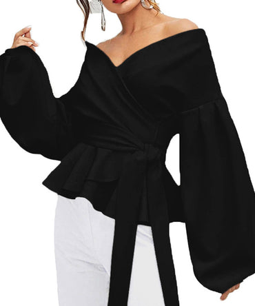 Black Off The Shoulder Lantern Sleeves Bowknot Waist Blouse