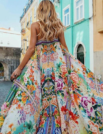 Sexy Spaghetti-Neck Floral Print Beach Maxi Dress