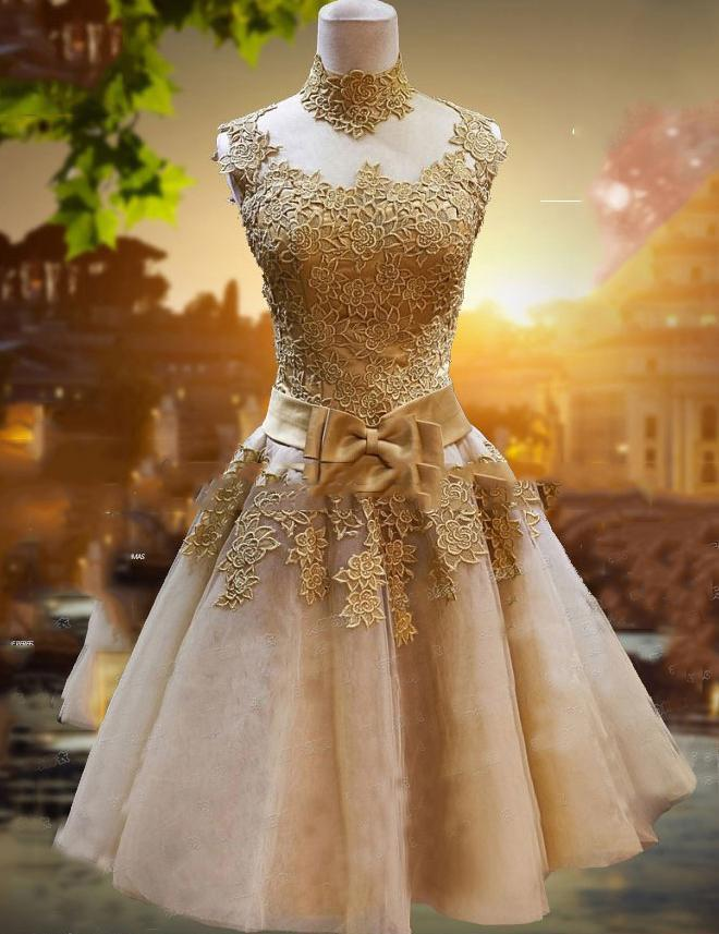A-line Round Neck with Applique Sequins Sashes Tulle Party Mini Dress