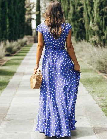 Boho Long Polka Dot Blue Summer Evening Beach Maxi Dress