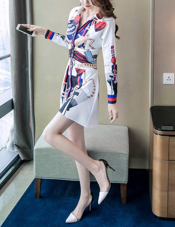 2018 Autumn New Print Long Sleeve Irregular Sexy Shirt Dress