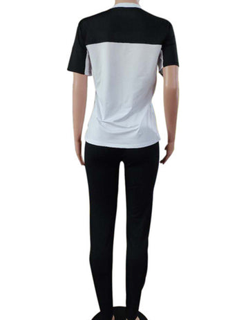 Buy Black Short Sleeved T-shirt Sports Suit Online