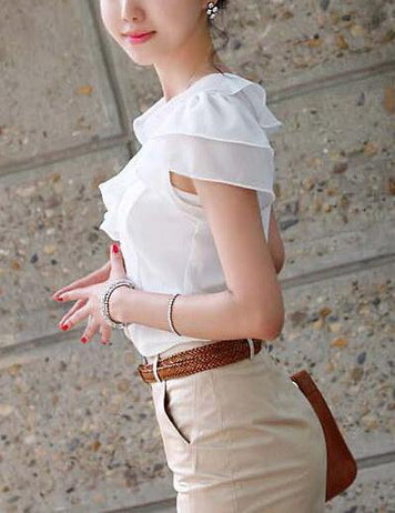 Simple Slim Short Sleeve Ruffle Work Blouse