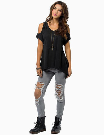 Solid Cold Shoulder V-Neck Irregular Hem Blouse