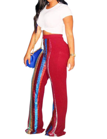 sequin patchwork pants