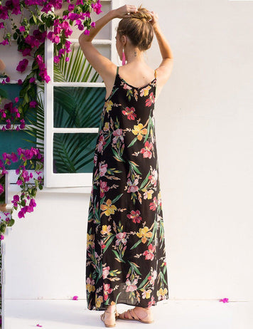 Boat Neck Sleeveless Floral Print Beach Maxi Dress