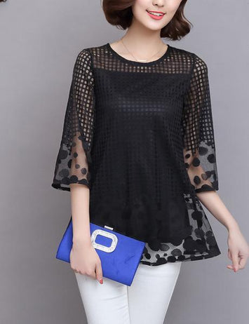 Plus Size Half Sleeve Loose Hollow Lace Blouse
