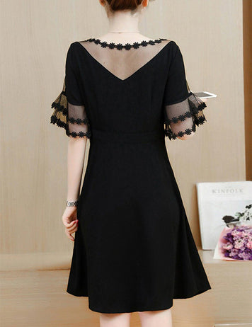 Plus Size See-Through Solid Color Bell Sleeve Black Skater Midi Dress - Fancyqube