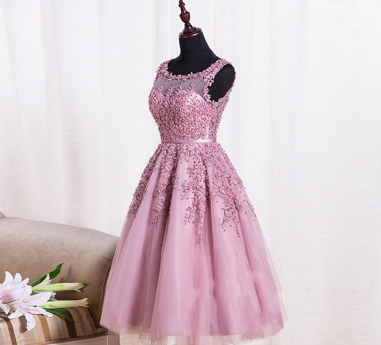 A-line Round Neck with Applique Beaded Tulle Party Midi Dress