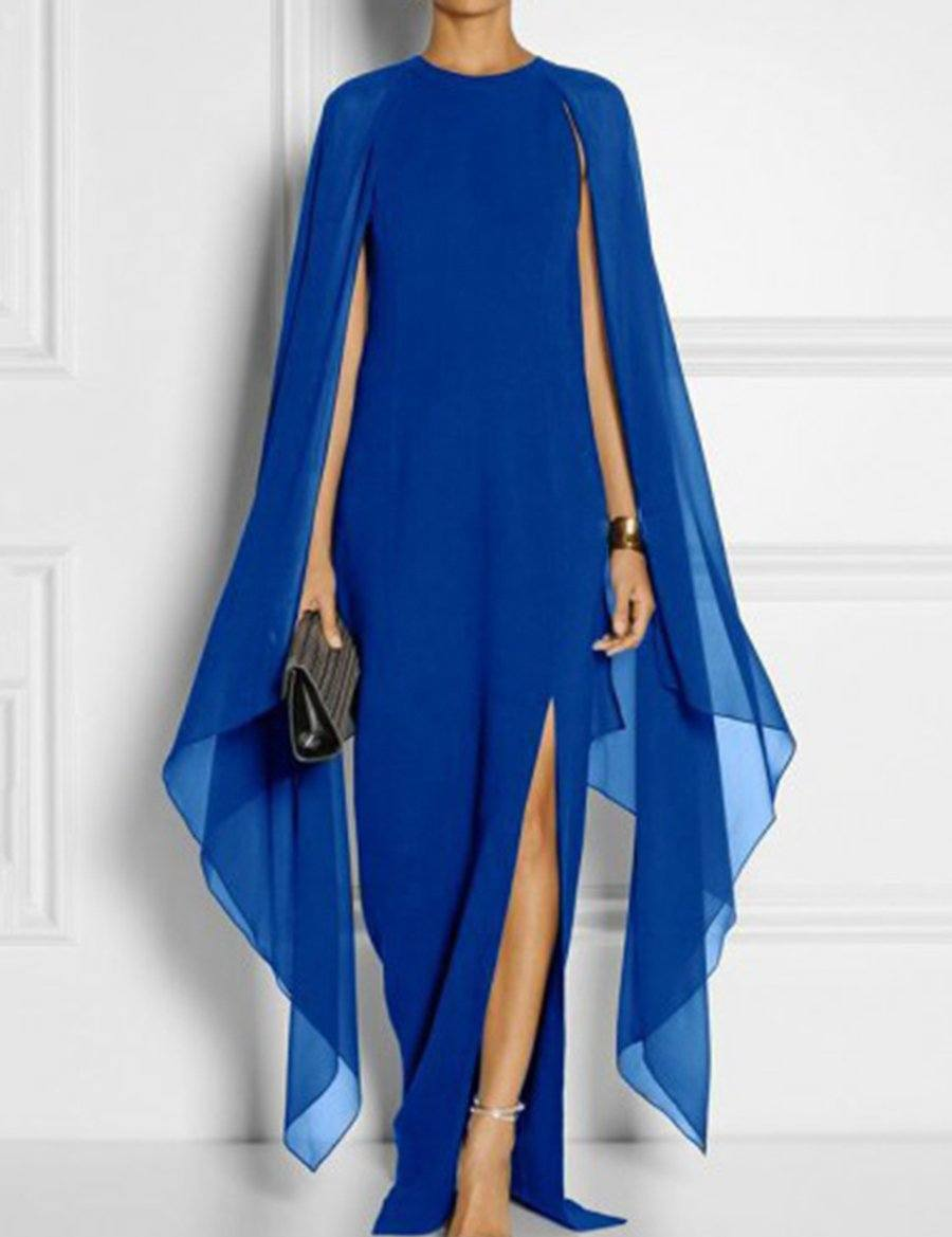 Cap Sleeve High Slit Plain Shawl Chiffon Evening Maxi Dress