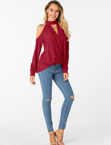 Solid Crossed Front Design Cold Shoulder V-Neck Lantern Sleeves Blouse