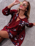 A-Line Printed V-neck Halter Long Sleeve Loose Mini Dress