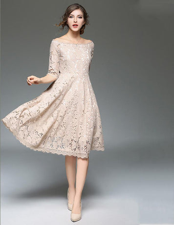 A-Line Sexy Off Shoulder Hollow Lace Half Sleeve Midi Dress