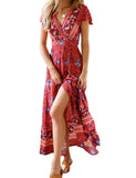 Red Bohemian Printed Lace-up Beach Maxi Dress