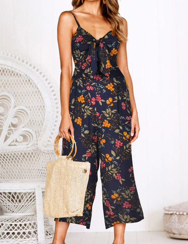 Navy Blue Summer New Printed Sling Sexy Slim Jumpsuit