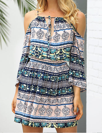 Women's Vacation Bohemian Printed Off Shoulder Short Dress