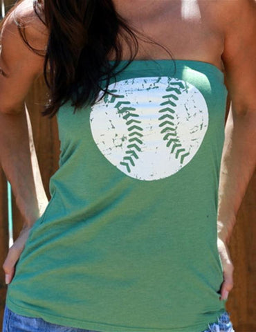 Sexy Solid Baseball Printed Strapless Vest Top