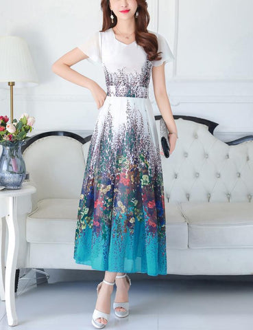 Elegant V-Neck Short Sleeve Print Summer Chiffon Maxi Dress