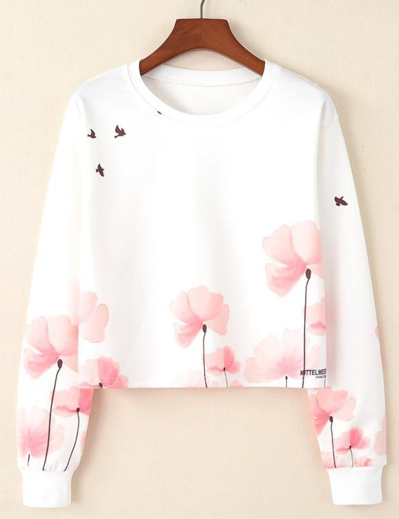Fashion Round Neck Long Sleeve Flower Sea Bird Print Short Sweatshirt