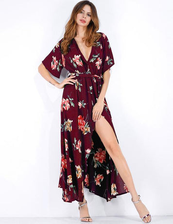 2018 V-Neck Sexy Split Floral Chiffon Short Sleeved  Beach Maxi Dress