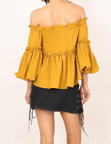 Off Shoulder 3/4 Flare Sleeve Ruffled Strapless Blouse