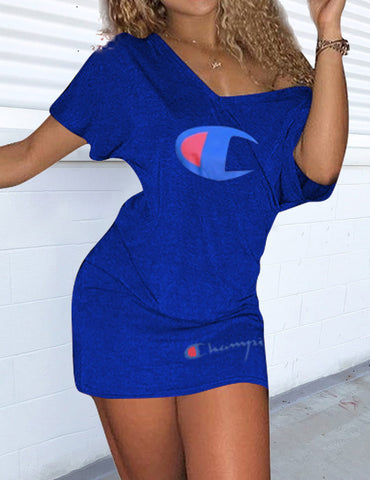 Buy Blue Letter Print Sexy Hip Dress Online