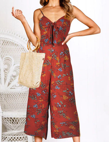 Red Summer New Printed Sling Sexy Slim Jumpsuit