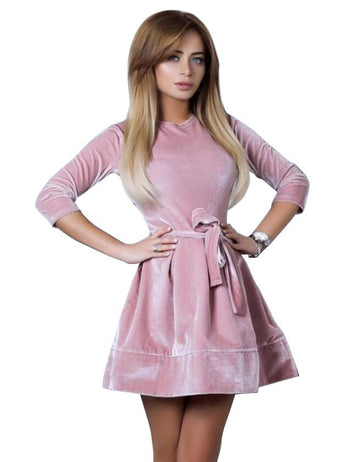 Fashion Casual Round Neck Long Sleeve Belted Velvet Mini Dress