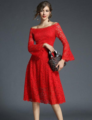 New A-line Off Shoulder Slim 3/4 Trumpet Sleeve Lace Midi Dress