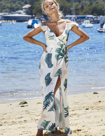 A-Line Off Shoulder Slip Ruffle Split Beach Print Maxi Dress - Fancyqube