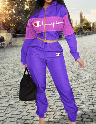 Purple Windbreaker Long Sleeve & Pants Sports Suit