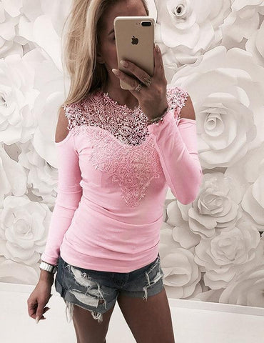 Grey Lace Cold Shoulder Long Sleeves Sexy T-Shirt