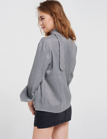 Casual Cotton Long sleeve Tie-Neck Printed Plaid Blouse