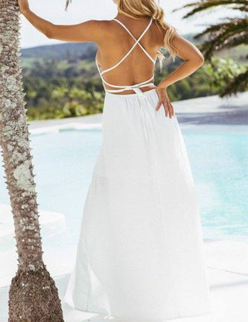 A-Line V-Neck Slip Backless White Beach Maxi Dress